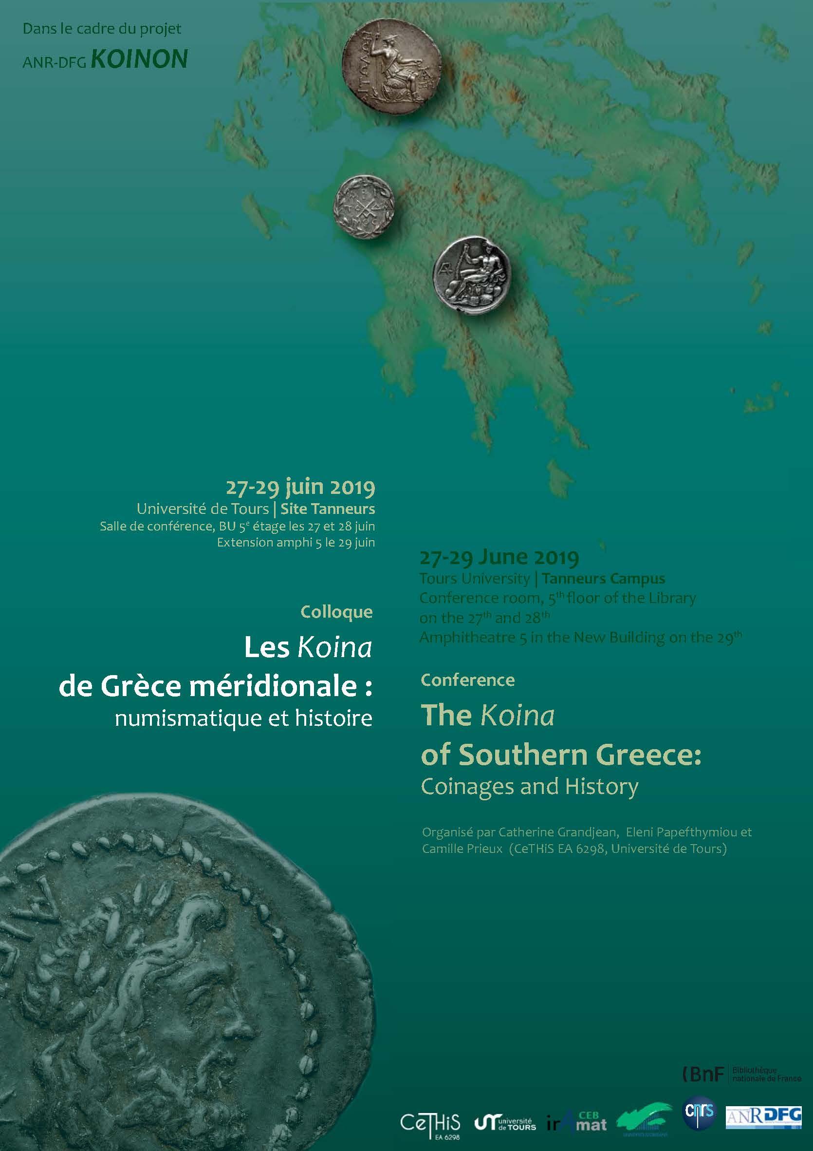 Affiche colloque Les Koina de Grèce méridionale