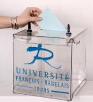 main avec bulletin et urne François-Rabelais